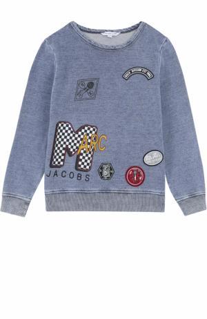 Хлопковый свитшот с принтом и нашивками Marc Jacobs. Цвет: голубой