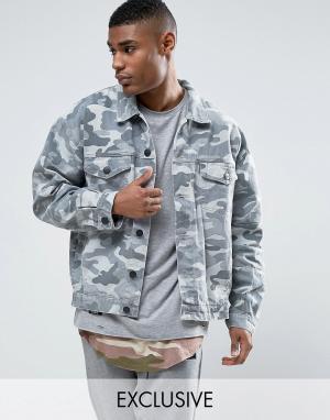 Cayler & Sons Состаренная джинсовая куртка с камуфляжным принтом. Цвет: серый