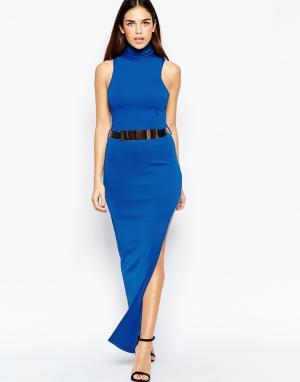Girl In Mind Платье макси с разрезами по бокам и поясом. Цвет: синий