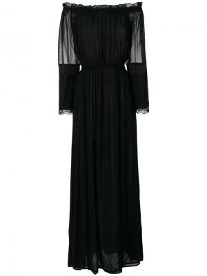 Длинное платье с открытыми плечами Loyd/Ford. Цвет: чёрный