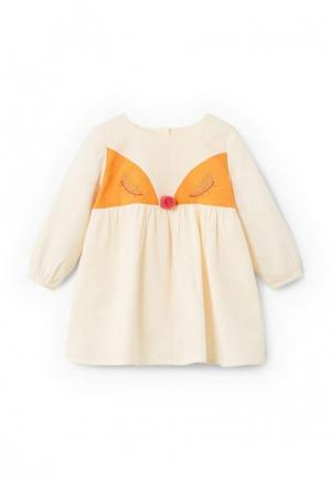 Платье Mango Kids. Цвет: бежевый