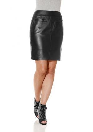 Кожаная юбка Heine Home. Цвет: бордовый, коньячный, темно-синий, черный