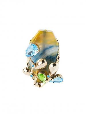 Кольцо Claudio Canzian. Цвет: зеленый, голубой, золотистый
