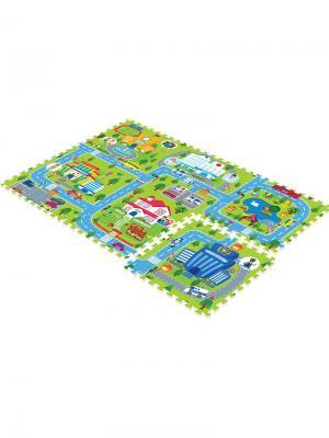 Детский коврик-пазл  Счастливый город 180х120х2 Mambobaby. Цвет: голубой