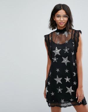 Sister jane Сетчатое платье с отделкой из пайеток и бисера в форме звезд Ja. Цвет: черный