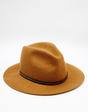 Catarzi Мягкая фетровая шляпа с кожаной отделкой. Цвет: коричневый