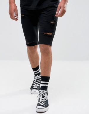 Religion Джинсовые шорты с рваной отделкой. Цвет: черный