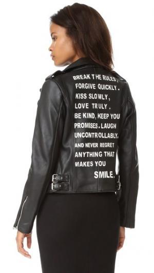 Кожаная куртка Rules JN by LLOVET. Цвет: голубой