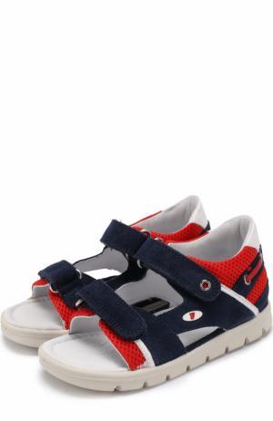 Комбинированные сандалии с застежками велькро Falcotto. Цвет: синий