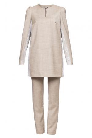 Шерстяной костюм из джемпера с кружевными вставками и классических брюк RM-304623006 Romana