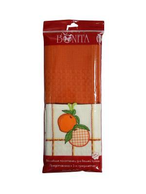 Набор полотенец Овощи-Фрукты из 2-х шт. 45*70 Bonita, вафельных BONITA. Цвет: белый, оранжевый