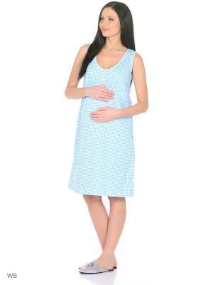 Ночная сорочка для беременных и кормления 40 недель. Цвет: бирюзовый, белый