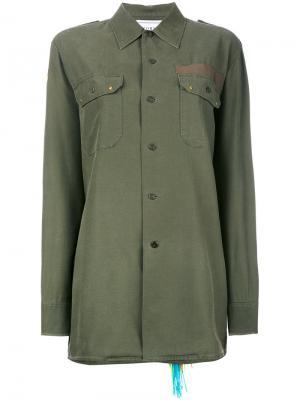 Рубашка с вышивкой Forte Couture. Цвет: зелёный