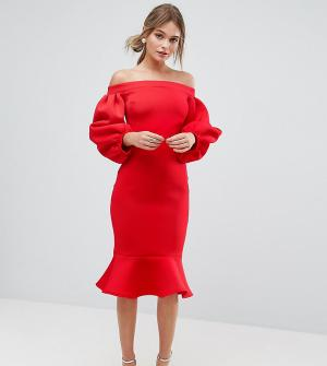 True Violet Облегающее платье с рукавами-баллон. Цвет: красный