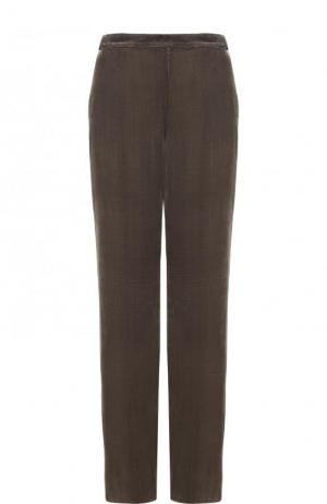 Однотонные бархатные брюки с эластичным поясом St. John. Цвет: серый