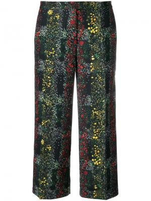 Укороченные брюки с цветочным принтом Marco De Vincenzo. Цвет: чёрный