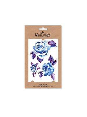 Акварельные переводные тату  Miami Tattoos Blue Roses. Цвет: синий, голубой, сиреневый