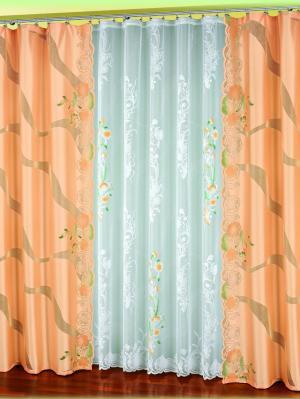 Шторы Haft. Цвет: персиковый, белый