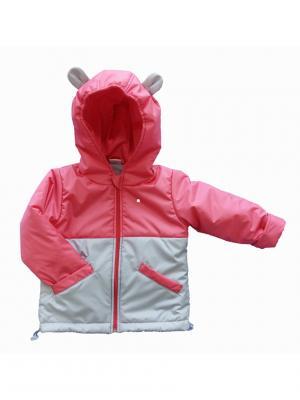 Куртка Микки Дашенька. Цвет: светло-серый,коралловый