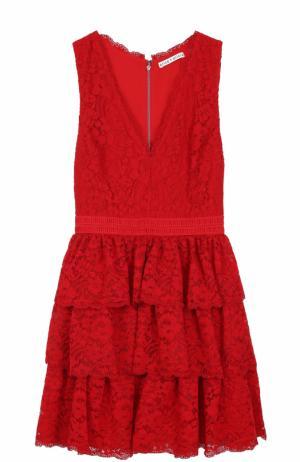 Кружевное мини-платье с многоярусной юбкой Alice + Olivia. Цвет: красный