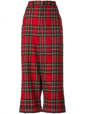 Строгие брюки в клетку с заниженным шаговым швом Junya Watanabe Comme Des Garçons. Цвет: красный