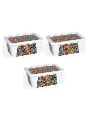 Комплект контейнеров из 3х шт. ПЕЙСЛИ прямоугольный с декором, 0,9 л. Полимербыт. Цвет: красный