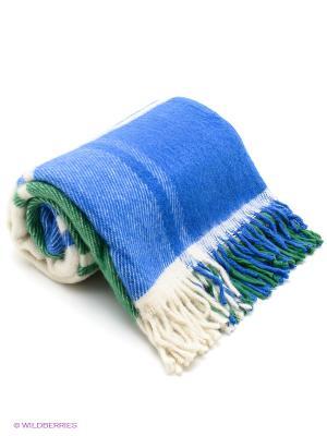 Плед РУНО. Цвет: зеленый, молочный, синий