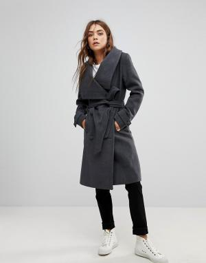 Soaked in Luxury Пальто с воротником-стойкой и поясом. Цвет: серый