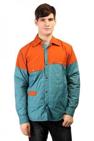 Куртка  Gear Snap Jack Rust Blue Trew. Цвет: коричневый,голубой