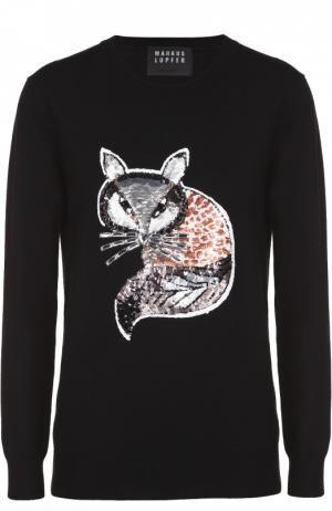 Удлиненный пуловер с контрастной вышивкой пайетками Markus Lupfer. Цвет: черный
