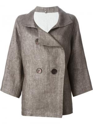 Двубортный пиджак N_8. Цвет: коричневый