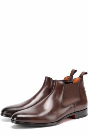 Классические кожаные челси с заостренным мысом Santoni. Цвет: коричневый