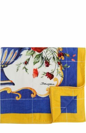 Хлопковое пляжное полотенце с принтом Dolce & Gabbana. Цвет: разноцветный