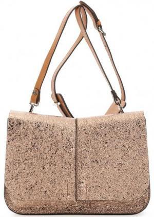 Золотистая кожаная сумка через плечо Gianni Chiarini. Цвет: золотистый