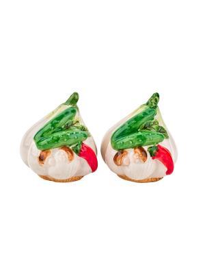 Набор солонка и перечница Бабушкины соленья Elff Ceramics. Цвет: бежевый, зеленый