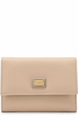 Кожаное портмоне с логотипом бренда Dolce & Gabbana. Цвет: бежевый