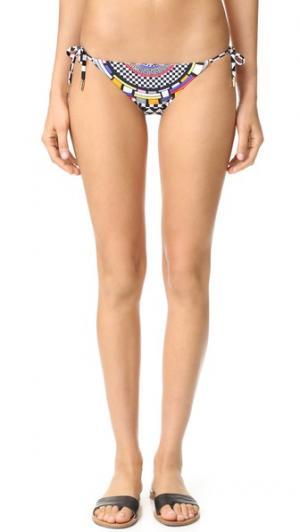 Двусторонние плавки бикини Cali в стиле поп-культуры с завязками по бокам Red Carter. Цвет: черный мульти