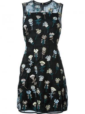 Платье с вышитым цветочным узором Markus Lupfer. Цвет: чёрный