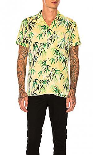Рубашка с коротким рукавом и пальмовым принтом Scotch & Soda. Цвет: желтый