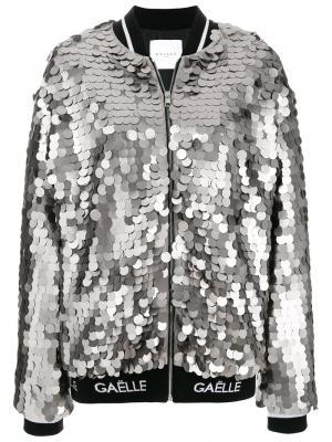 Куртка-бомбер с пайетками Gaelle Bonheur. Цвет: серый
