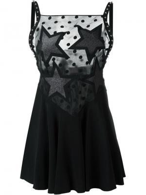 Мини-платье с кружевной панелью Giamba. Цвет: чёрный
