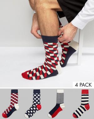 Happy Socks Подарочный набор из 4 пар носков HappySocks. Цвет: мульти