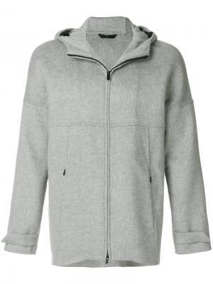 Куртка с капюшоном  на молнии Hevo. Цвет: серый