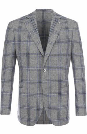 Однобортный пиджак в клетку из смеси шерсти и шелка L.B.M. 1911. Цвет: светло-серый