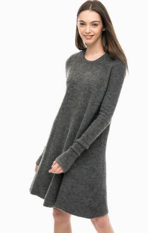 Вязаное короткое платье с длинными рукавами Vero Moda. Цвет: серый