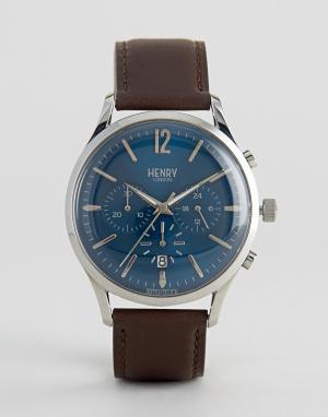 Henry London Часы-хронограф с коричневым кожаным ремешком Knightsbridg. Цвет: коричневый