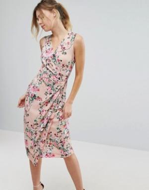 Closet London Платье миди с цветочным принтом и запахом спереди. Цвет: мульти