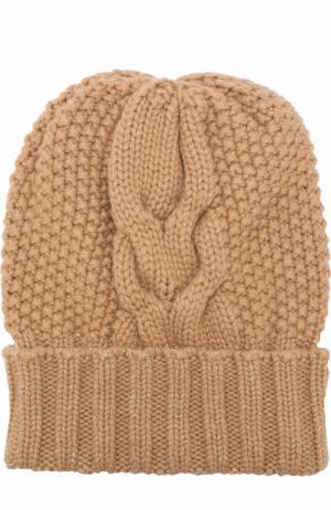 Кашемировая шапка фактурной вязки Kashja` Cashmere. Цвет: темно-бежевый