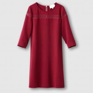 Платье с кружевной вставкой SUD EXPRESS. Цвет: бордовый