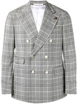Двубортный пиджак в клетку Gabriele Pasini. Цвет: чёрный
